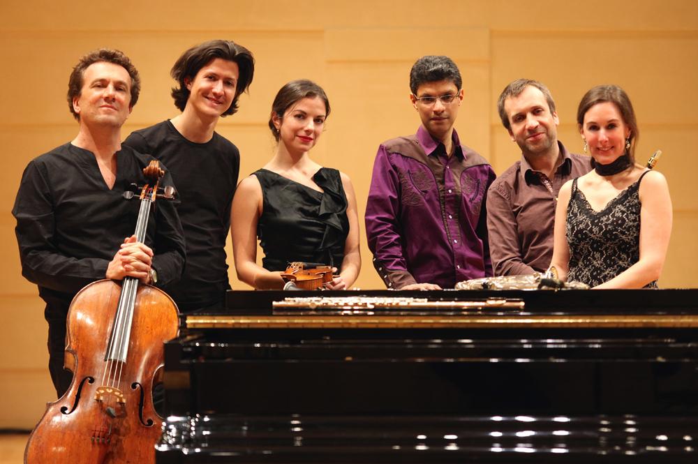 From L to R: David Louwerse (Cello), Carjez Gerretsen (Clarinet), Liana Gurdzhiya (Violin), Thierry Pécou (Artistic Director & Pianist), Nicolas Prost (Saxophone) and Anne Cartel (Flute) - Photo by Michel Pellaz